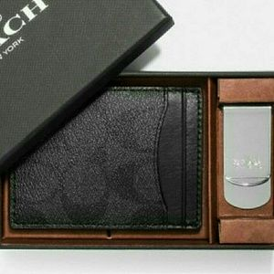 🔵 NEW●COACH Boxed 3 in 1 Card Case & Money Clip🔵